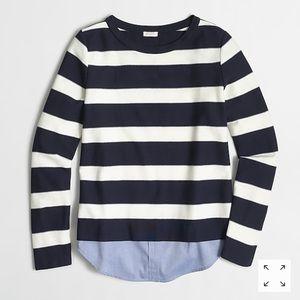 JCrew striped shirttail sweatshirt navy white
